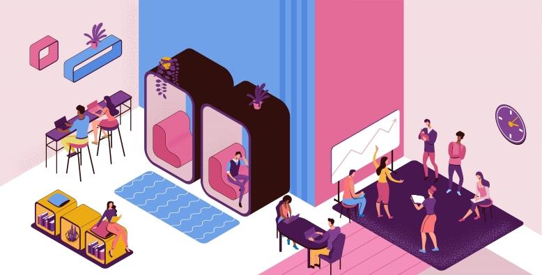 オフィスの個室型ブース